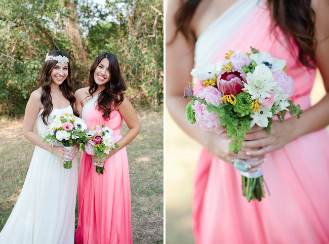 bridesmaid in pink ombre dres