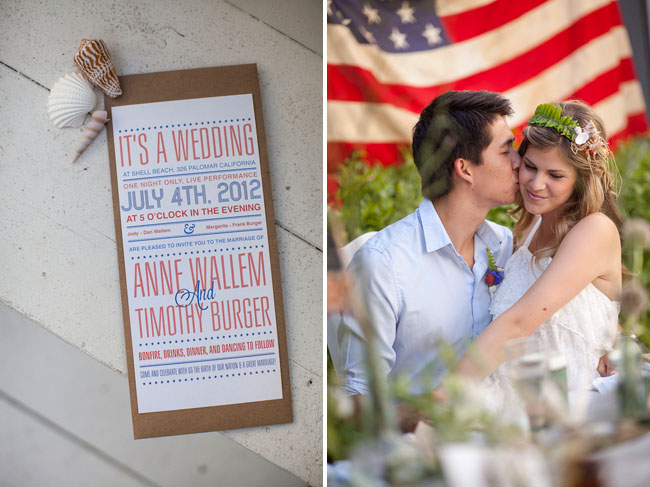 july 4th wedding inspiration invite