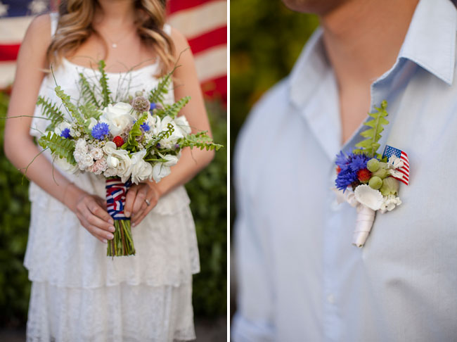red white blue boutonniere