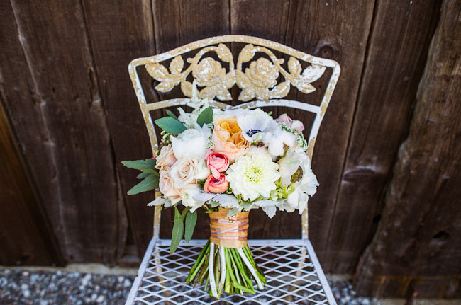 barn wedding peach bouquet