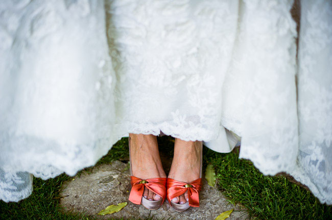 peach bow bridal shoes