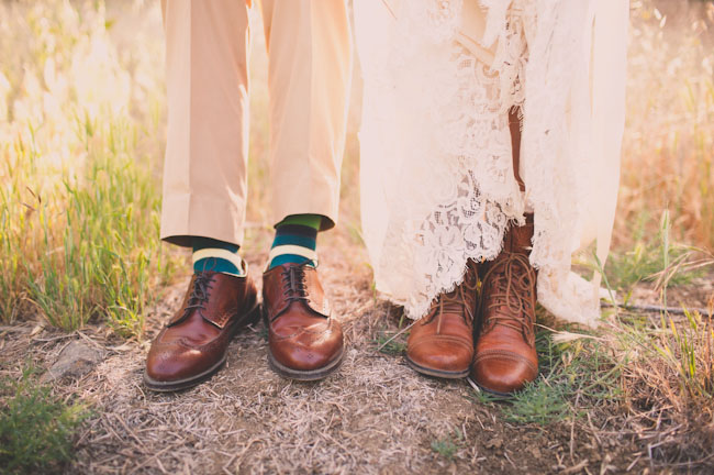 bride wearing lace up boots