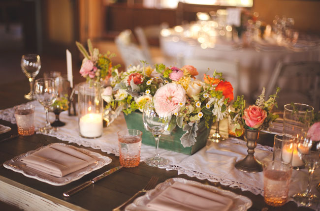 mint wooden centerpieces
