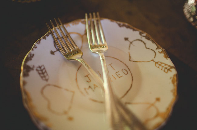 bride and groom stamped forks