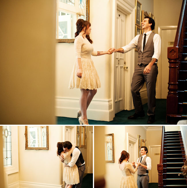 vintage wedding first look