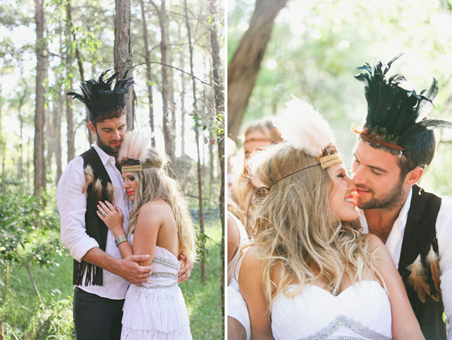 native wedding bride and groom feather head pieces