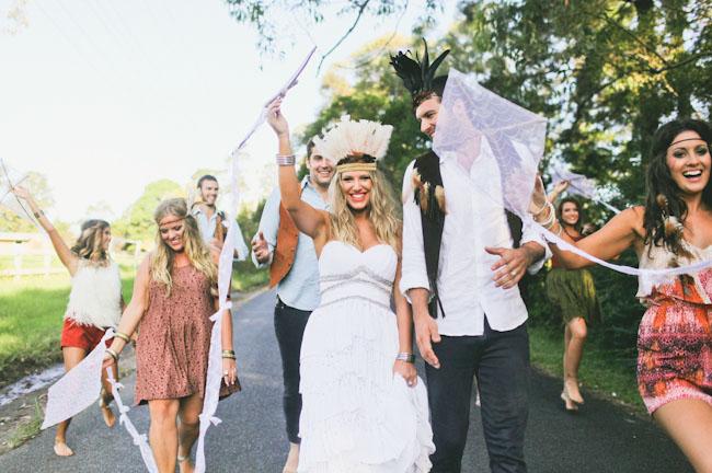 native wedding bride and groom feather head pieces