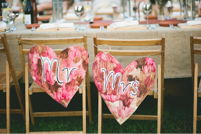 painted heart chair decor