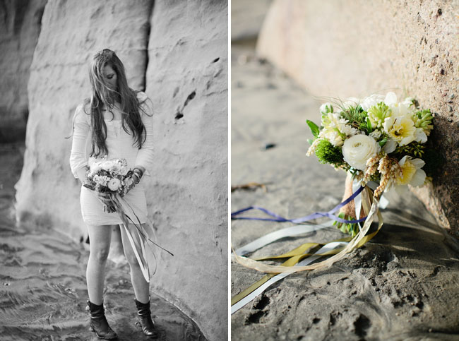 white and green bouquet with ribbons