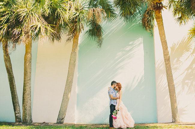 beach wedding bride and groom