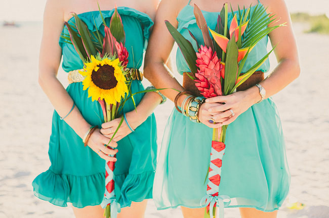 florida beach wedding sunflower bouquet