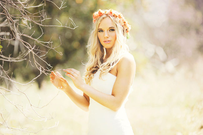 hippie wedding floral crown