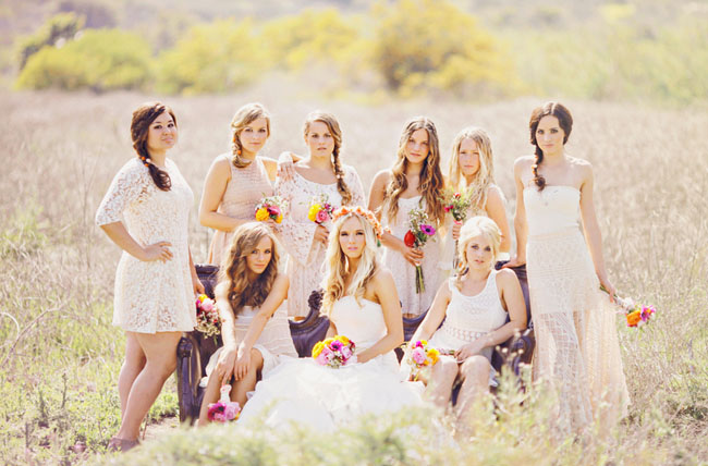 Boho Chic Clothing Boutiques San Francisco bridesmaids mis matched