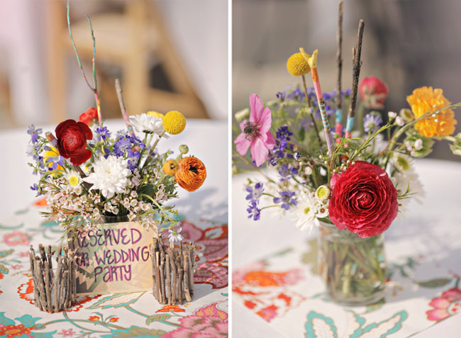 red and orange centerpieces