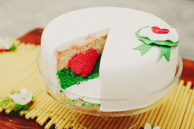 red and green heart italian cake