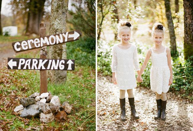 flower girls in white wearing boots