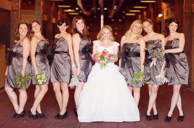 bridesmaids wearing gray