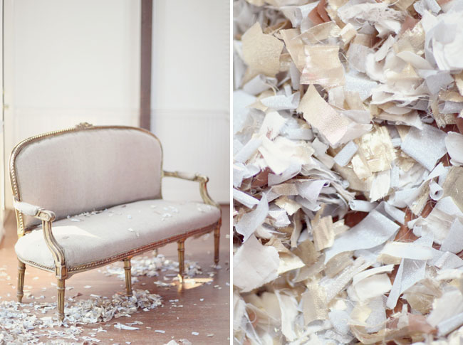 shredded gold fabric decor