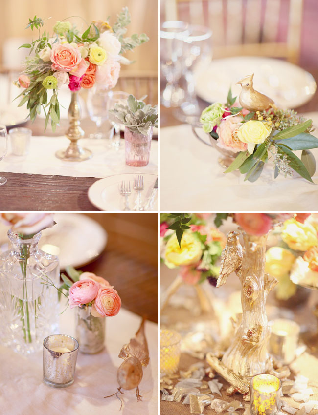 gold and pink centerpieces