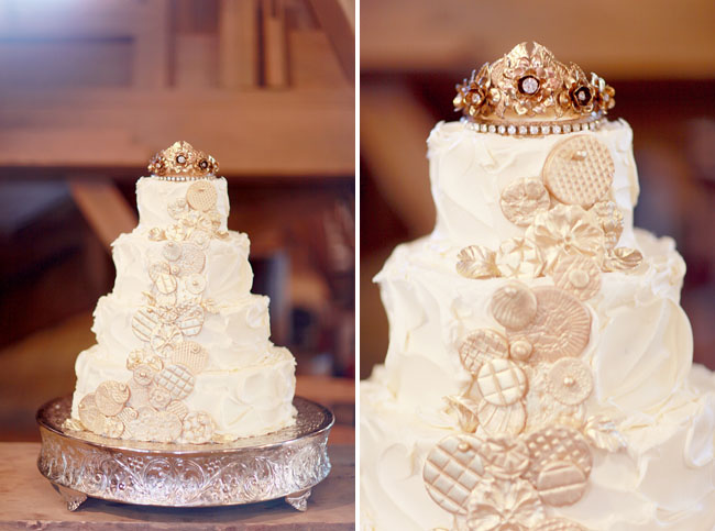white crown wedding cake