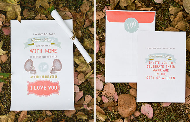 sunrise wedding coral invitation