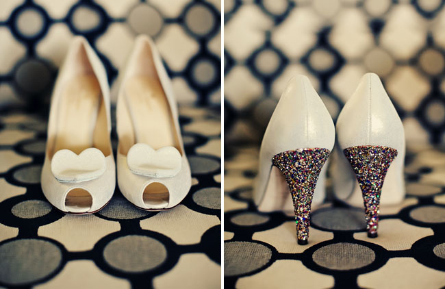 white heart shoes with glitter
