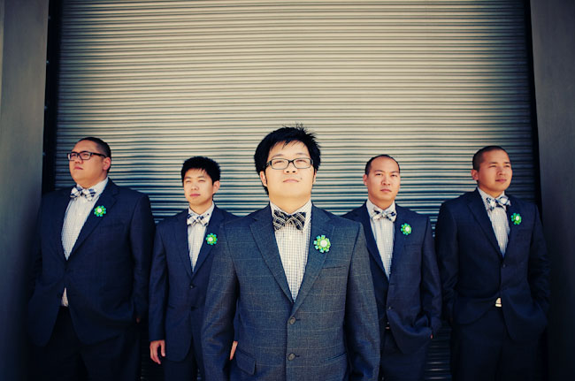 groomsmen with plaid bow ties