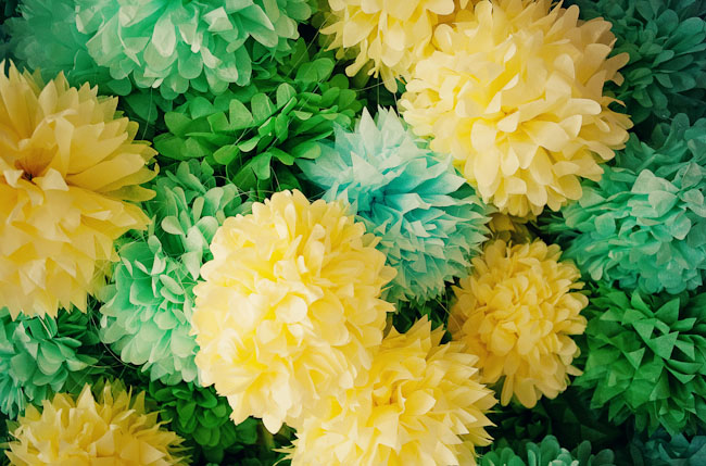 green and yellow tissue poms