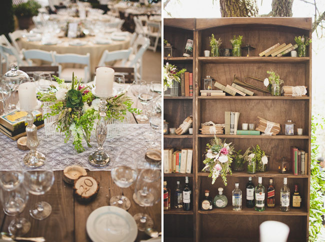 bookcase with florals wedding