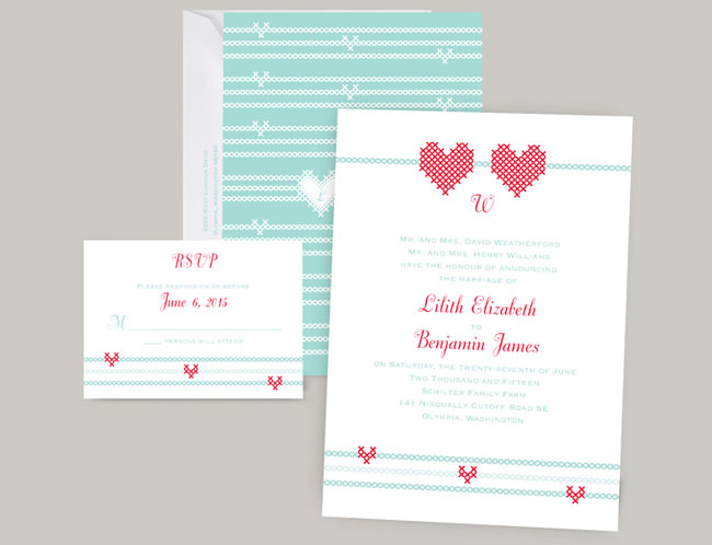 CrossStich Wedding Invitations