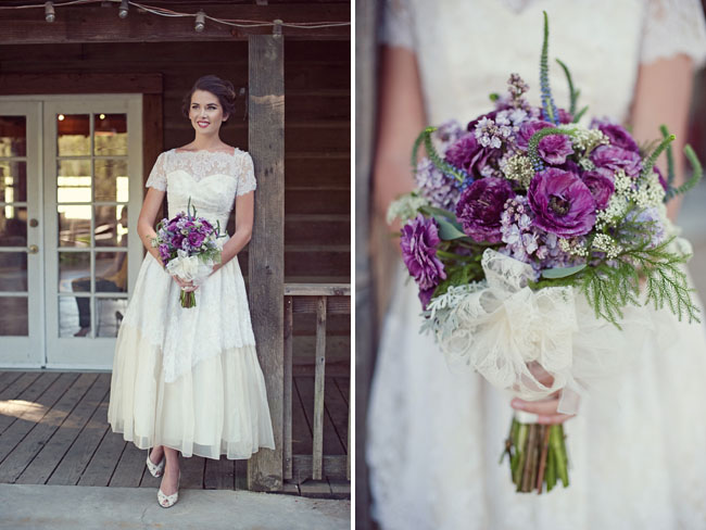Vintage Wedding Dress Purple And Lavender Bouquet
