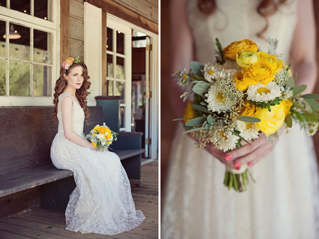 dusty miller and yellow bouquet