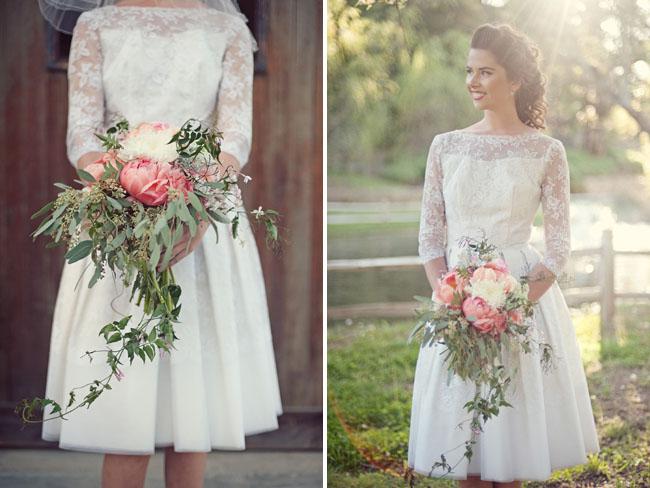Lace Dress With Flowers Wedding Bouquet Fashion Dresses