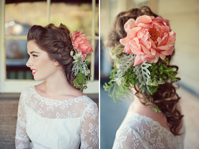 peony floral hair piece