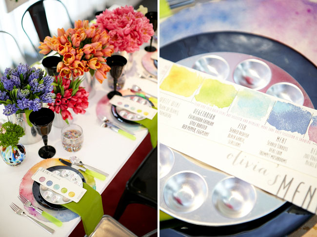 paint palette place card