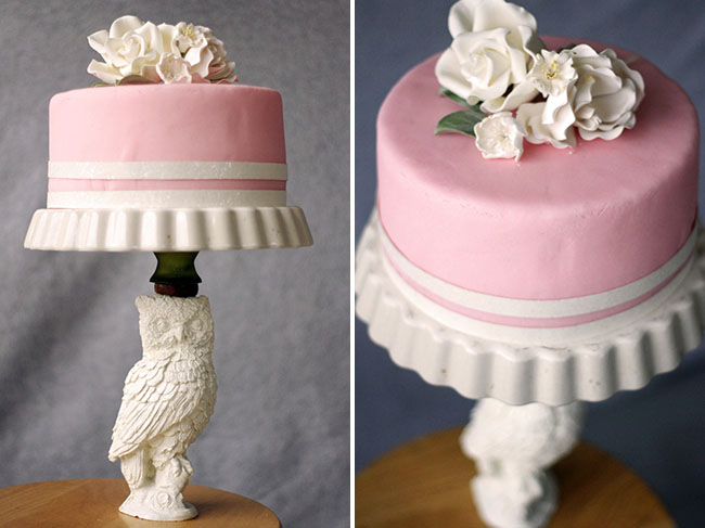 DIY cake stand owl