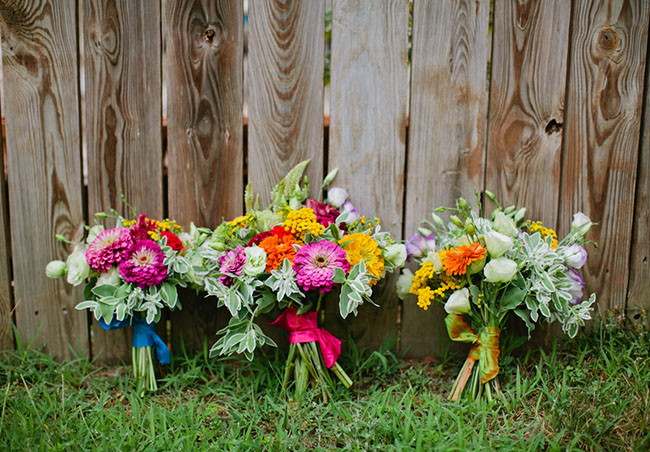 bouquets made from farmer's market flowers