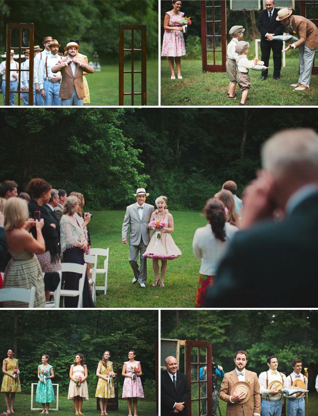 bride wearing pink petticoat