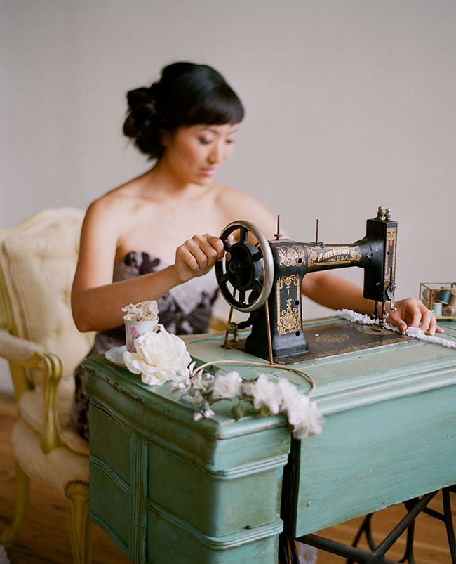 Myra of twigs and honey at sewing machine