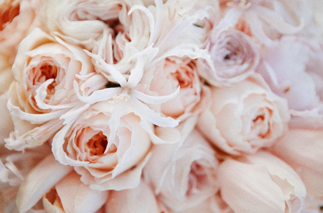 pink peony and juliet rose bouquet