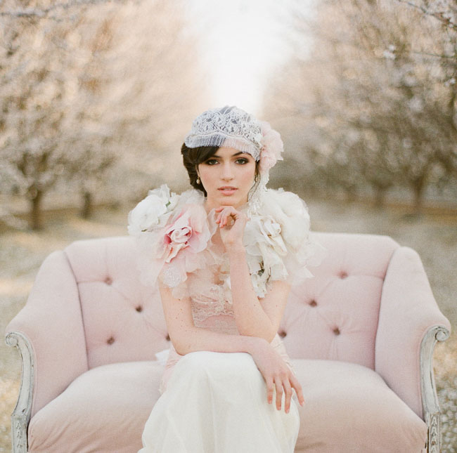 almond orchard styled shoot pink couch