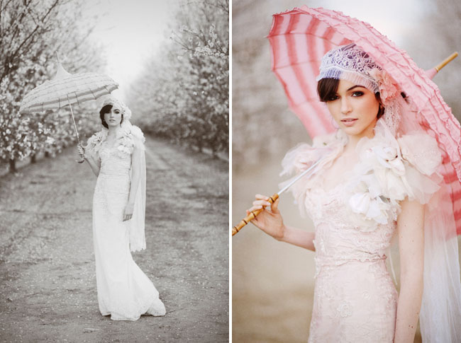 almond orchard styled shoot pink umbrella