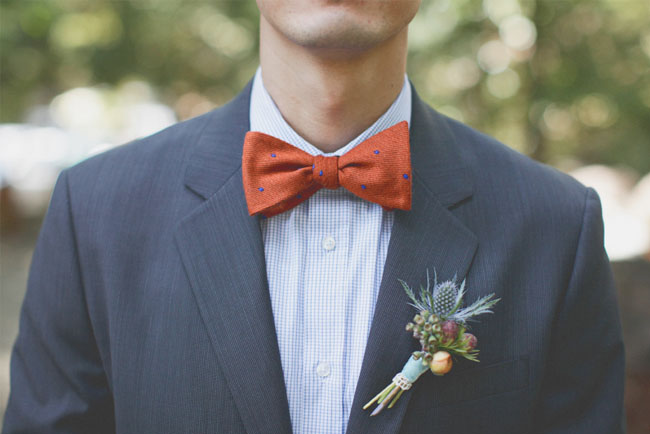 orange dotted bow tie