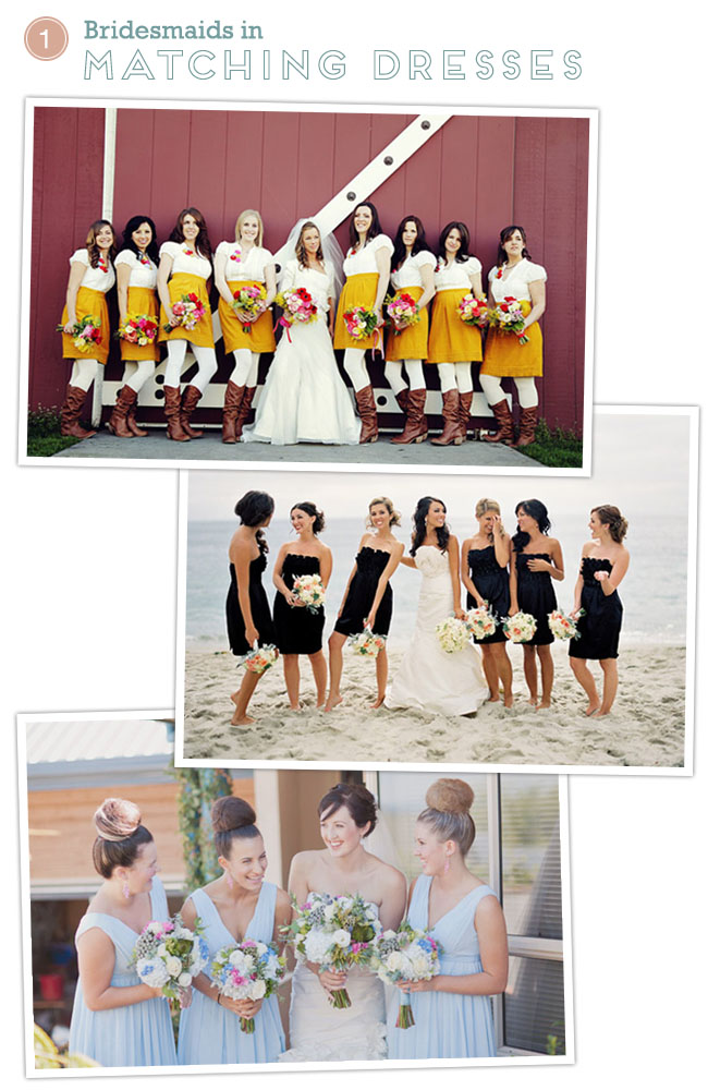 bridesmaids in matching dresses