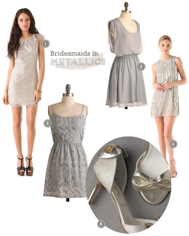 bridesmaids metallic dresses