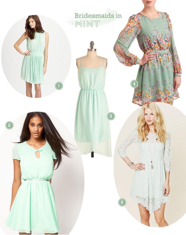 bridesmaids mint dresses