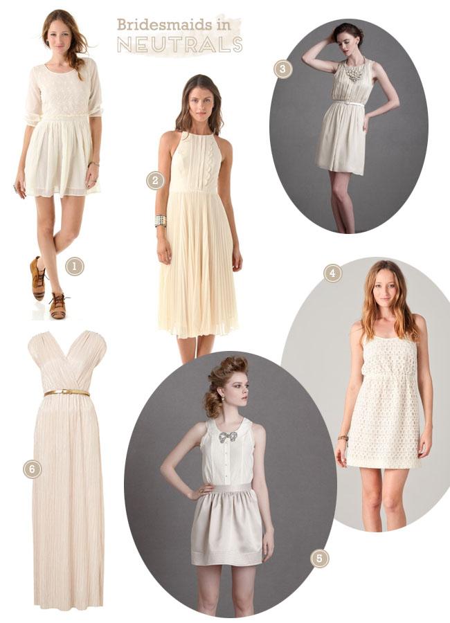bridesmaids neutral dresses