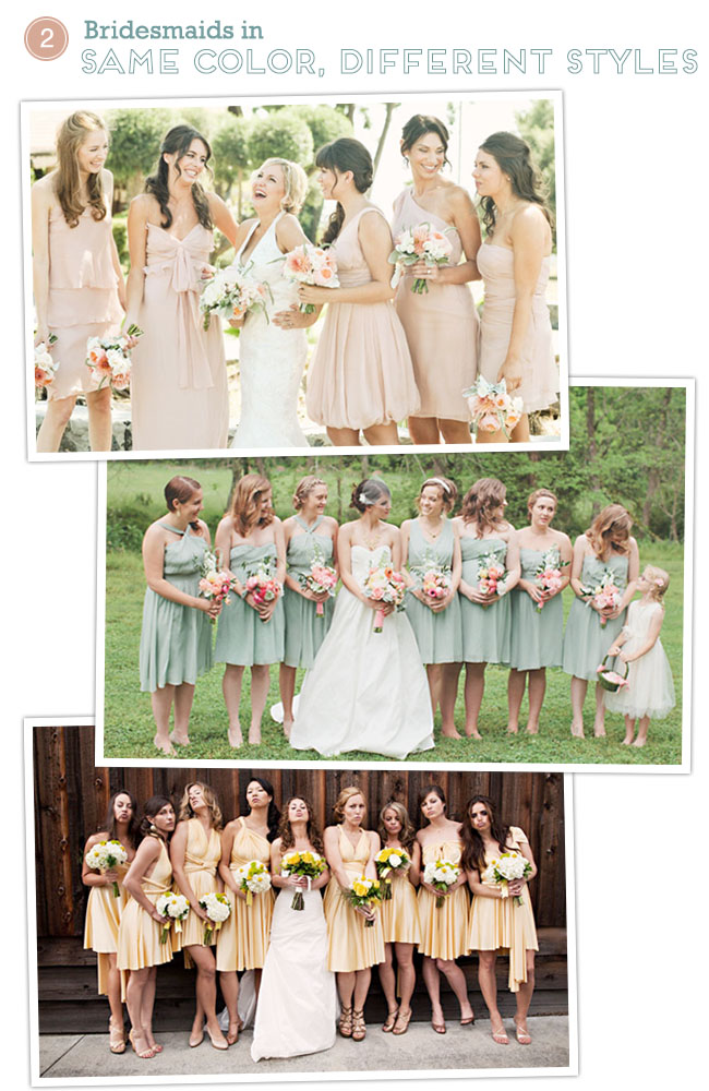 Bridesmaids dresses in same color different styles