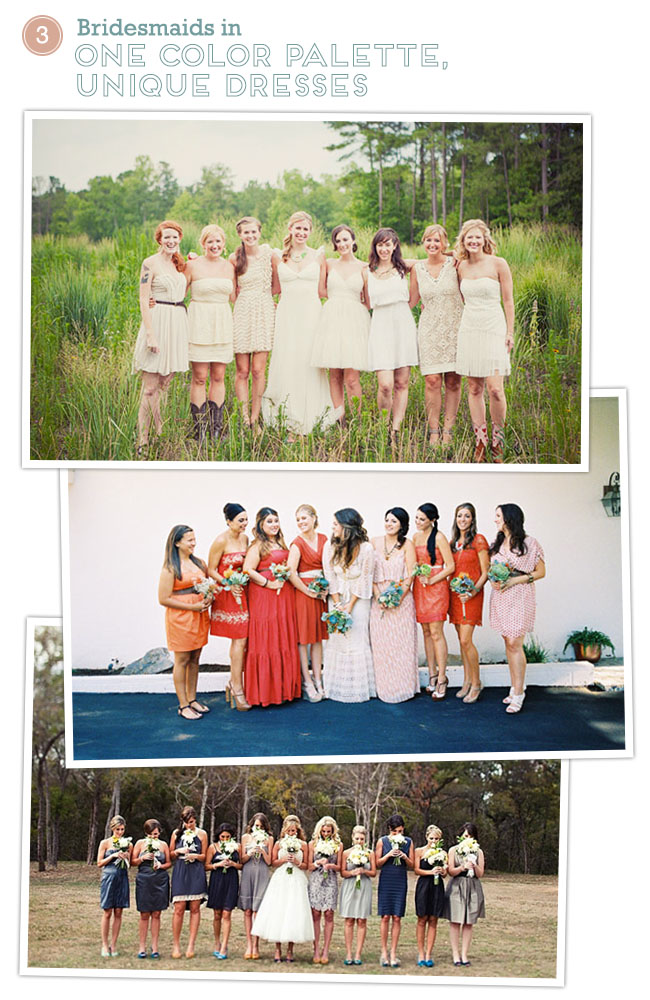 bridesmaids one palette, unique dresses