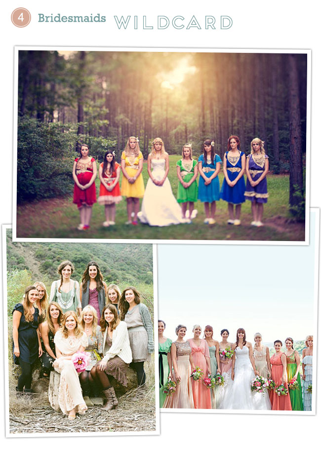 bridesmaids rainbow dresses